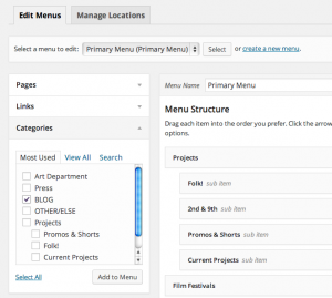 Navigate to the Menu Editor and Categories