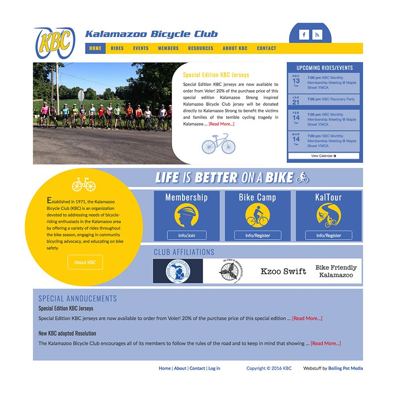 Kalamazoo Michigan Bicycle Club Website Design