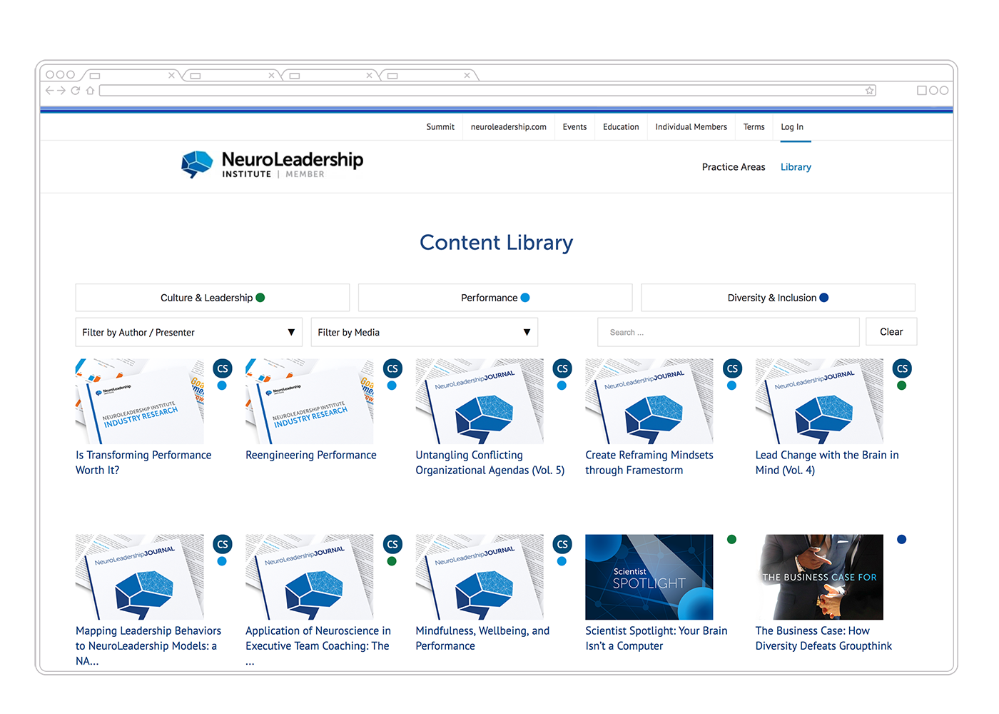 Neuroleadership Institute Corporate Membership Website